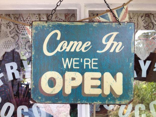Sign hanging in the window of Edward & Vintage Sweet Shop - Tissington